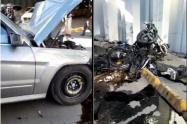 Tragedia en Bogotá: Vehículo le cae encima a motociclista en deprimido de la 94