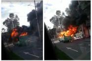 Bus quemado en Bogotá