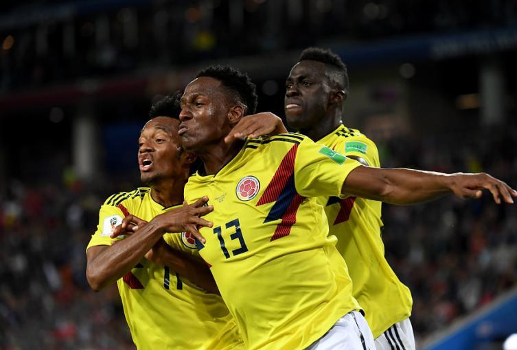Yerry Mina, Juan Cuadrado y Dávinson Sánchez con Colombia en Rusia 2018