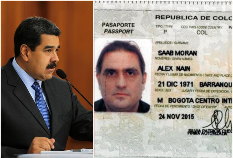 Nicolás Maduro, presidente de Venezuela, y el documento del colombiano Alex Saab