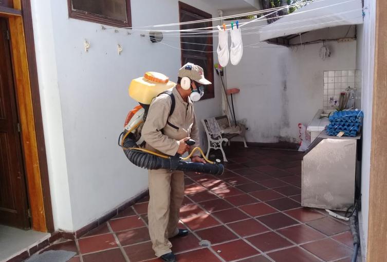 Fumigaron varias viviendas que tenían criaderos de mosquitos.