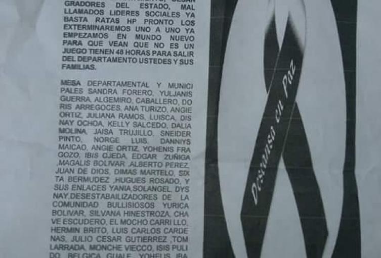 Panfleto contra líderes sociales de La Guajira