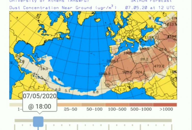 Imagen de los modelos meteorológicos que confirman el fenómeno natural