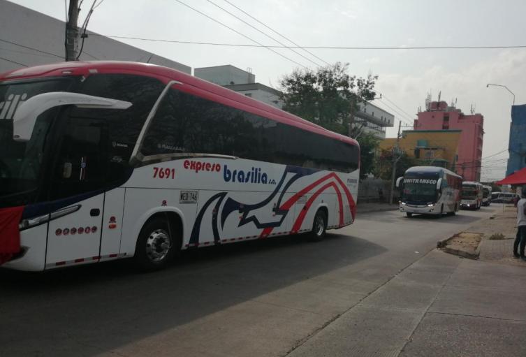 Los buses recorrieron las calles de Barranquilla.
