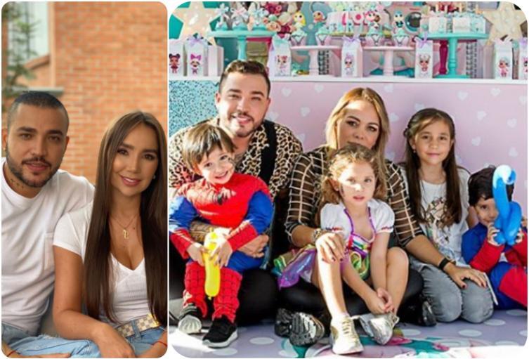 Jessi Uribe, Paola Jara, Sandra Barrios y sus hijos
