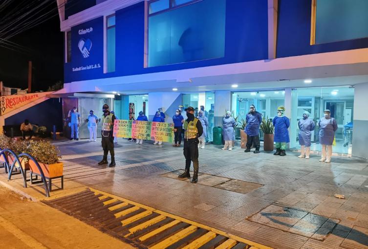 Policìa Nacional en Sucre le brinda apoyo a personal medico de distintos centros hospitalarios en Sucre