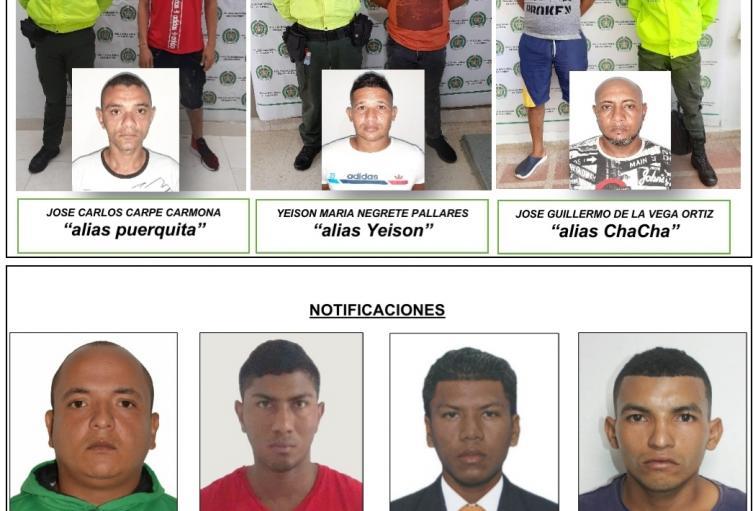 Por los delitos  concierto para delinquir con fines  de hurto y porte ilegal de armas de fuego,fueron capturadas 3 personas y cuatro mas  notificadas.