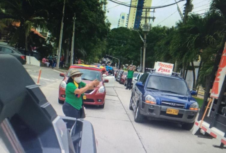 Caravana vehicular en Barranquilla