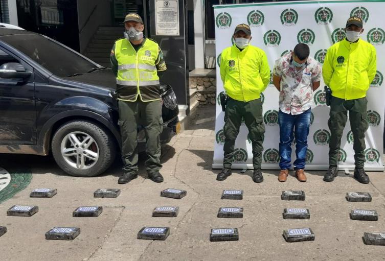 Policía incauta 48 kilogramos de cocaína en la via entre Lorica y San Onofre,en el departamento de Sucre