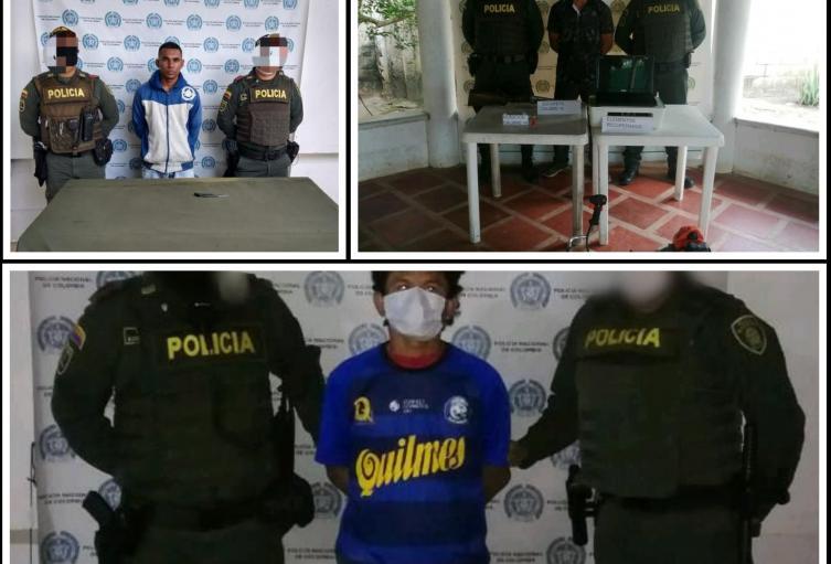 Policía Nacional en Sucre, reporta tres capturados por hurto en el departamento