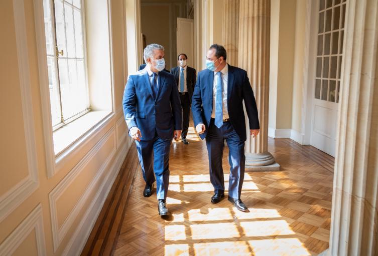 Presidente Duque y Presidente del Banco de Desarrollo de América Latina (CAF), Luis Carranza