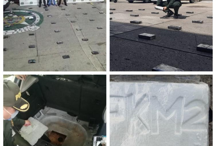 Policía Nacional inmoviliza automóvil con 61 kilogramos de clorhidrato de Cocaína en carreteras Sucreñas