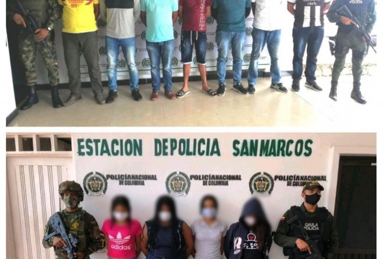 Presuntos integrantes del Clan del Golfo fueron capturados por el Gaula de la Policía y el Ejército en Sucre