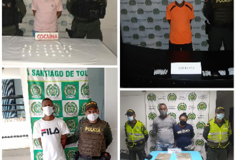 Policía Nacional capturo a varias personas en Sincelejo, Sampués Y Tolú por trafico de estupefacientes..