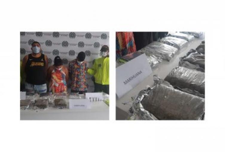 Tres presuntos integrantes del Clan del Golfo fueron capturadas por el delito de tráfico de estupefacientes y porte de armas de fuego o municiones en Sincelejo.