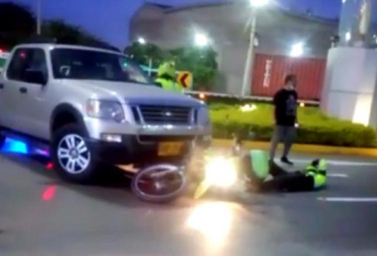 Agente de la Policía arrollado en Barranquilla