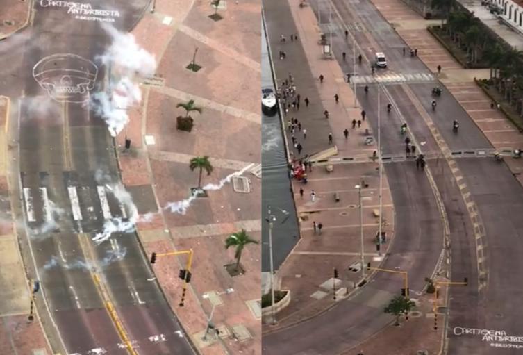 Disturbios en Cartagena por plantón de estudiantes