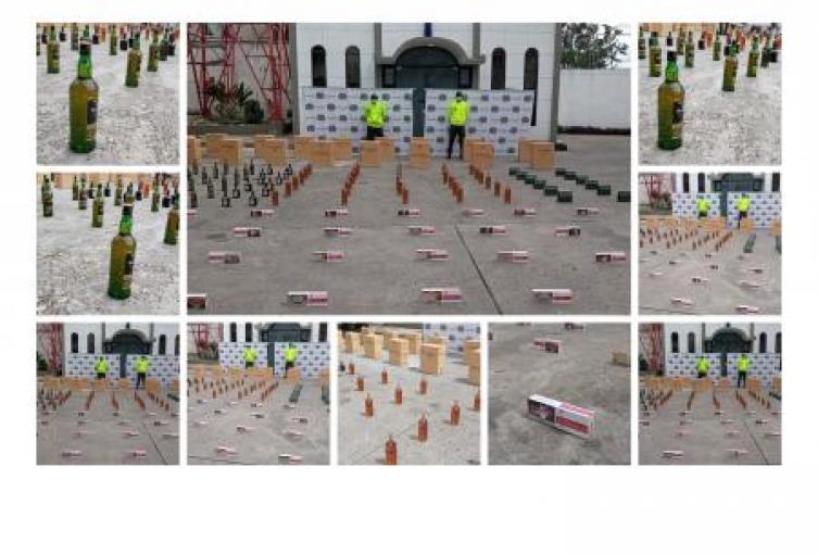 La policía Nacional en Sucre se incauta de mercancía de contrabando reflejada estas en cigarrillos  y whisky, el hecho se presentó en Sincelejo, en un sector popular de la capital
