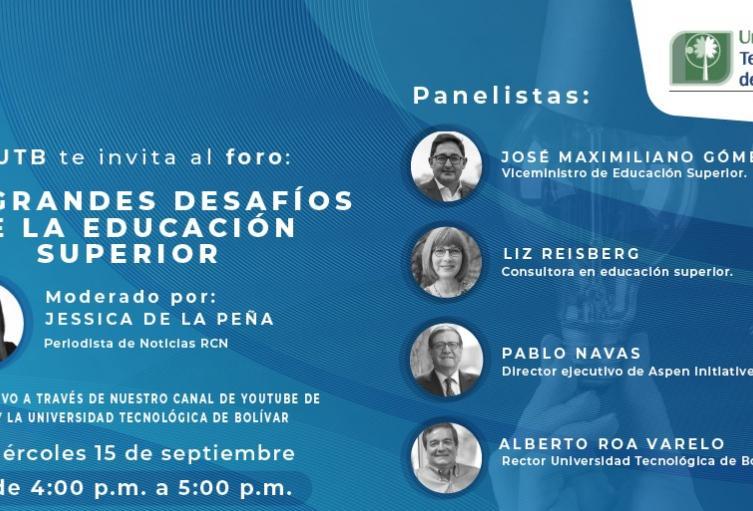 El evento se realizará este miércoles 15 de septiembre, desde la cuatro de la tarde, a través del Yotube de RCN Radio y Universidad Tecnológica de Bolívar.