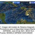 Mantiene vientos sostenidos de 65 nudos, es decir, 120 km/h