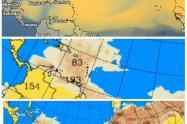 Los modelos meteorológicos muestran la presencia de la nube en la región