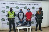 Arma de fuego y base de coca