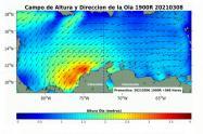 La altura de las olas se encuentran entre los 1.9 a 2.3 metros.