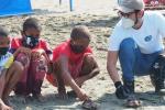Las tortugas Marinas fueron regresadas a su hábitat con un distintivo marcas númeradas