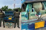 Era transportado en 30 pimpinas plásticas de color verde en el baúl de un vehículo