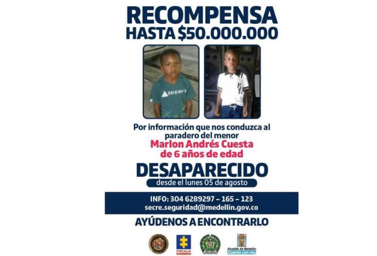 A 50 millones de pesos aumentó la recompensan de niño desaparecido en Medellín