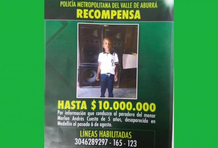 Ofrecen 10 millones de pesos por paradero de niño de cinco años desaparecido en Medellín