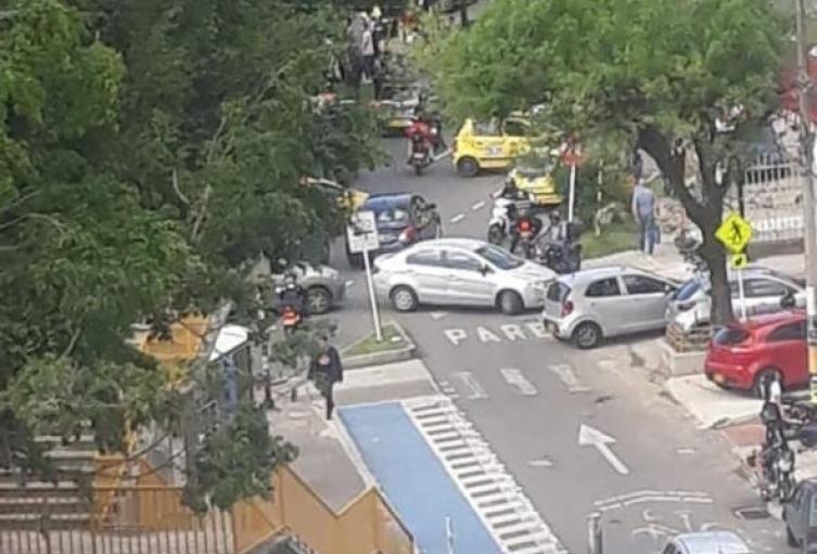 Bloqueos en la avenida Las Vegas, en Medellín