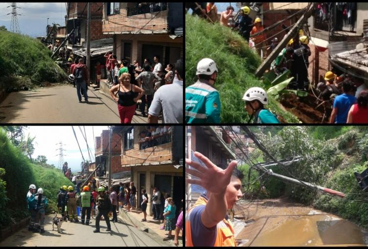 Deslizamiento en el barrio Santo Domingo de Medellín