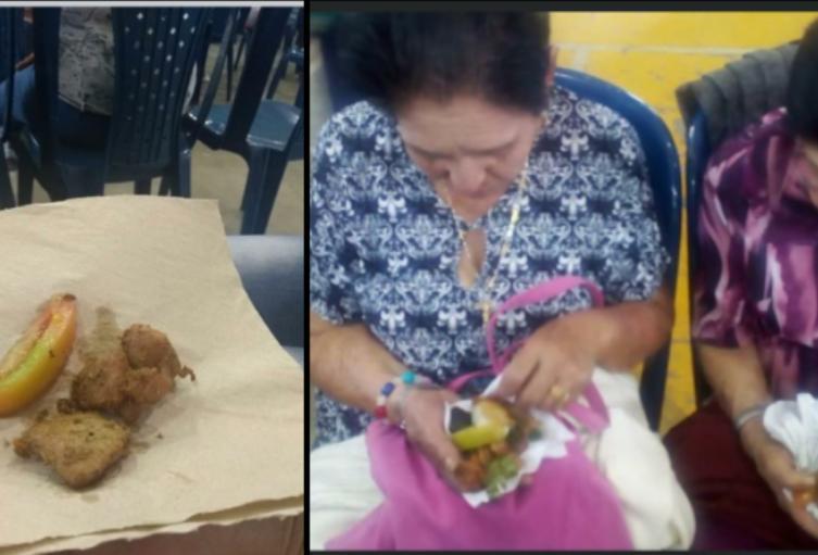 ¡Humillados! 300 adultos mayores recibieron un pedazo de tomate y carne en una servilleta en el Retiro