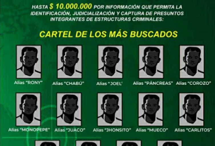 Hasta 10 millones de pesos es la recompensa para quienes brinden información que facilite la captura de estas personas.