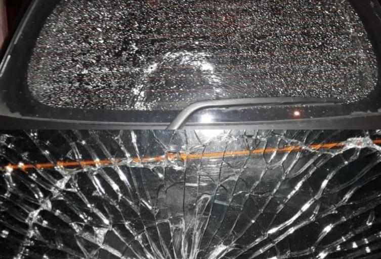 Así quedó el vehículo en el que se movilizaba la juez