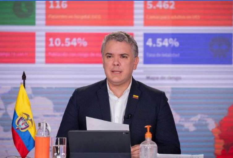 Presidente Iván Duque, durante la pandemia en Colombia