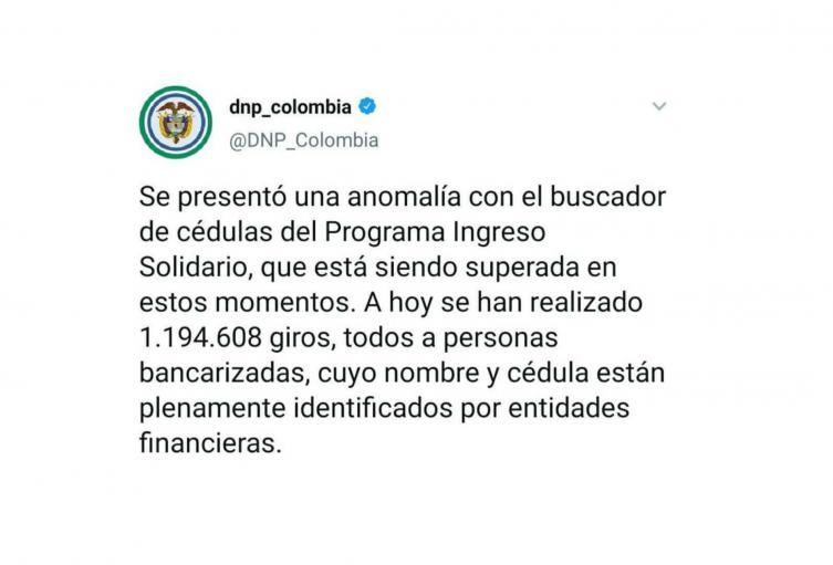 DNP confirma que plataforma de Ingreso Solidario presenta fallas