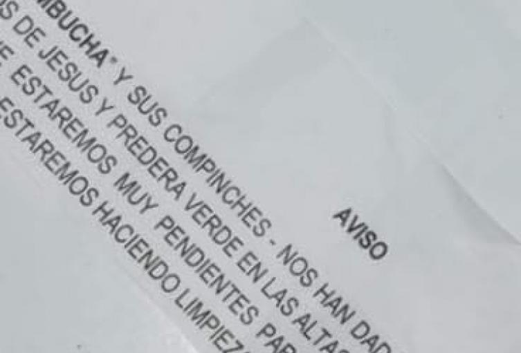 Aparece panfleto intimidatorio en Belén Rincón