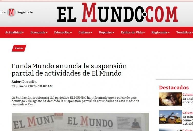 Periódico El Mundo de Medellín.