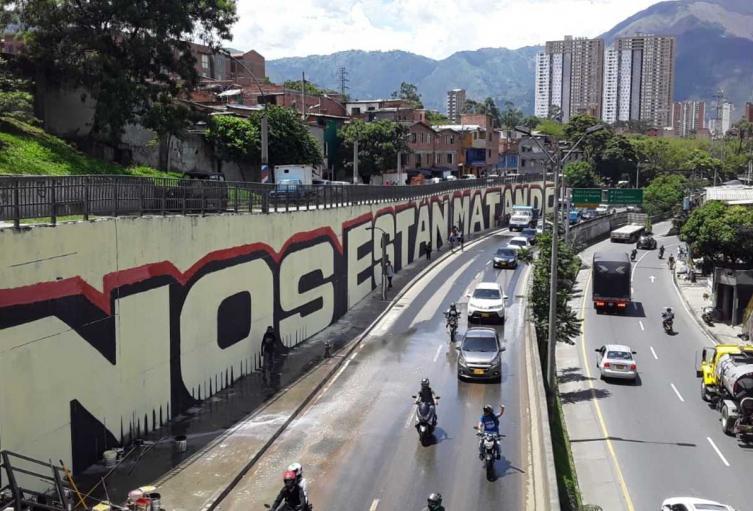 """Este es el mural """"Nos están matando""""."""