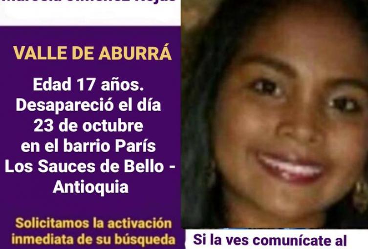 La menor desapareció en Bello, Norte del Valle de Aburrá.