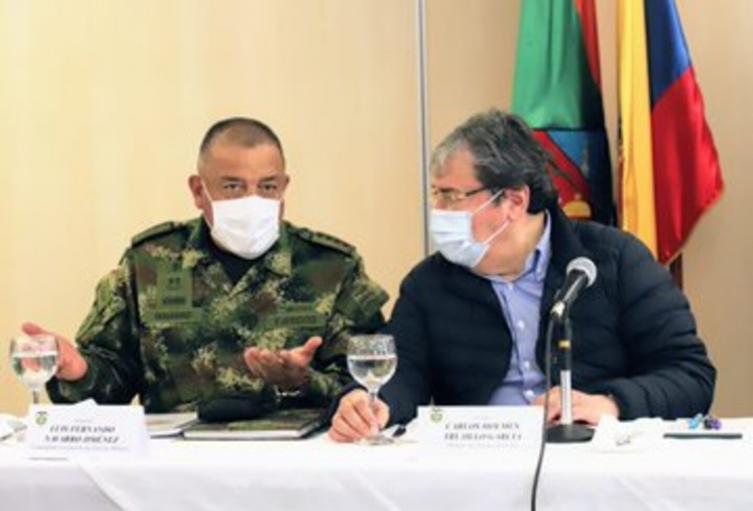 Ministro de Defensa, Carlos Holmes Trujillo, en Envigado, Antioquia.