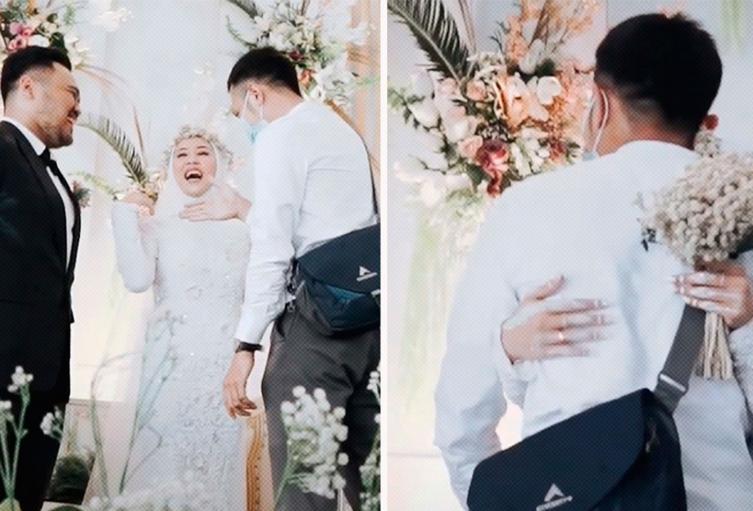 Abrazó a su exnovio en su matrimonio