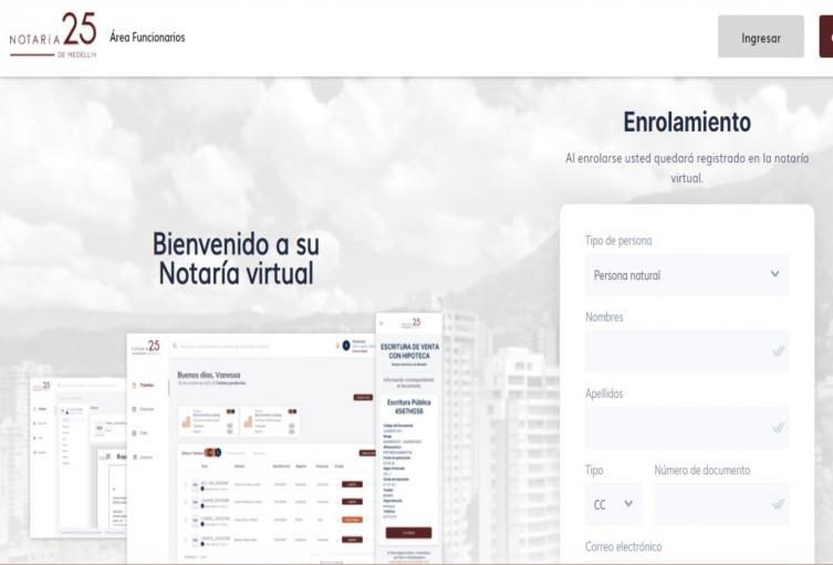 Así es la Notaría 25 virtual de Medellín.