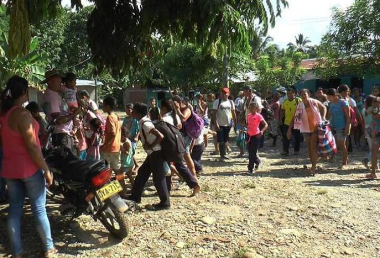 Imagen referencial de desplazamientos masivos en Cáceres, Antioquia.
