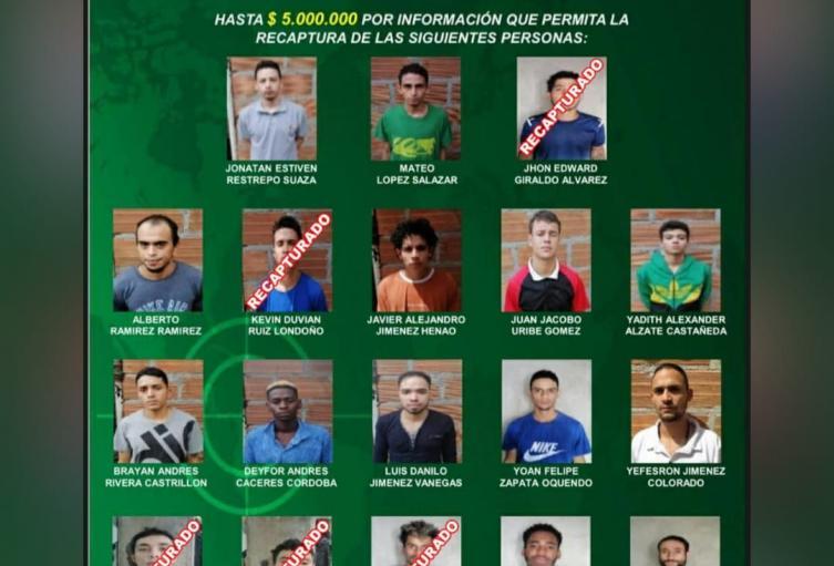 Recapturan a cinco de los 18 fugados de la estación de policía del barrio Manrique de Medellín