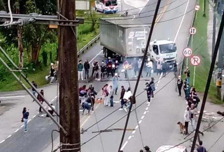 Cierre de la vía Medellín - Bogotá