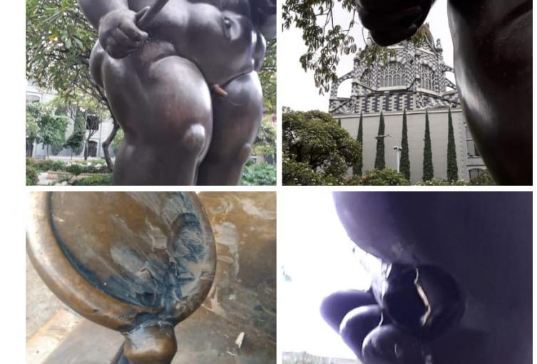 Vandalizaron dos esculturas del maestro Fernando Botero en Medellín