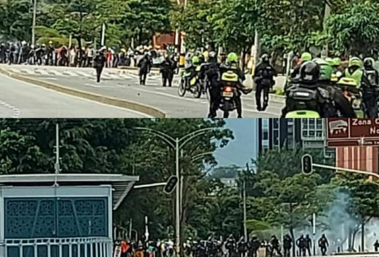 Disturbios en Medellín al finalizar las marchas.